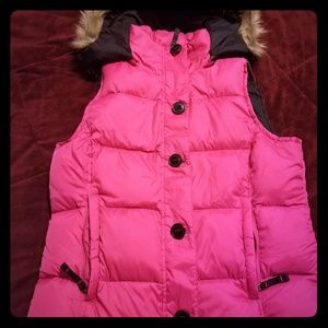 L.L. Bean Down Vest with faux fur trim hood